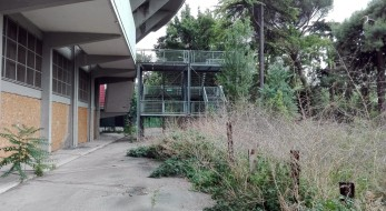 Una veduta esterna dell'ingresso principale dello stadio Flaminio, Roma, 12 maggio 2016. ANSA/ MARTINO IANNONE