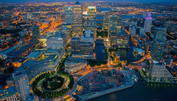 Aerial view of Westferry Circus and Canary Wharf at night, London