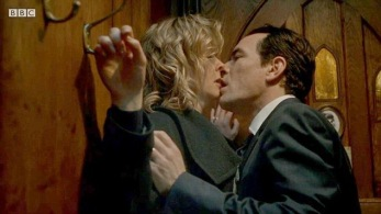 Apple Tree Yard Emily Watson & Ben Chaplin in the broom cupboard - having sex Credit BBC Image grab - for Nikki