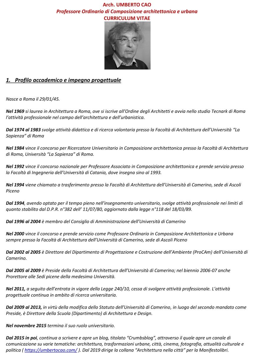 Prof. Arch. Umberto Cao - curriculum